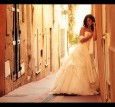 bride at wall