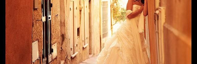 bride at wall