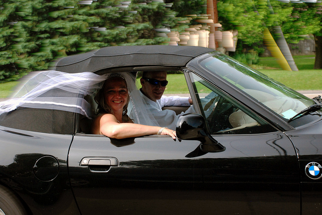 bride at convertible