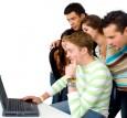 Team on laptop