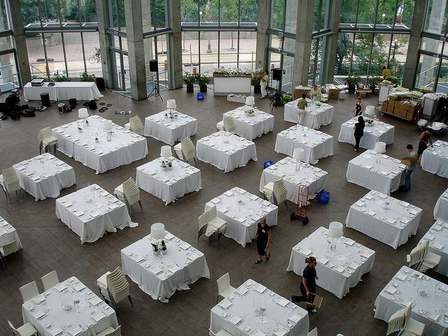 setting up wedding