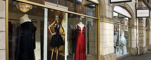 dresses on window