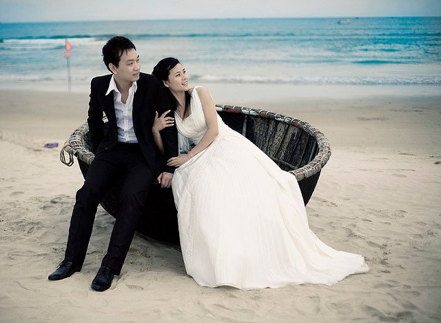 Bride With Groom on couch