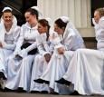 Brides in white dress