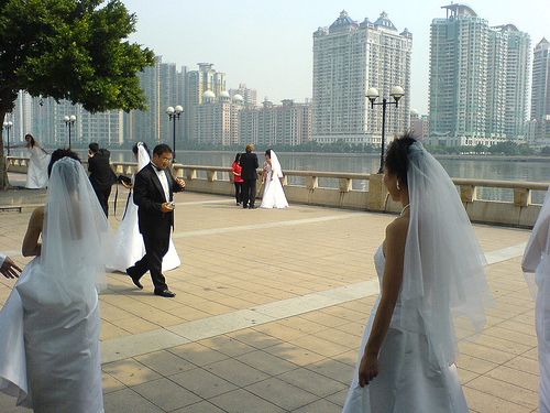 Brides walking at the park