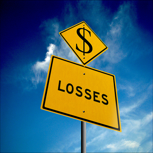 dollar losses sign