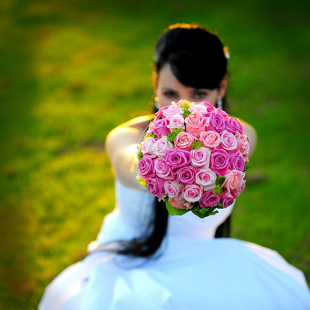 wedding with bouquet