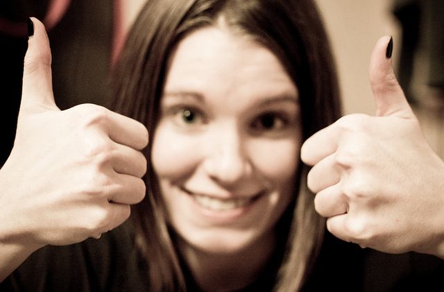 thumbs up lady