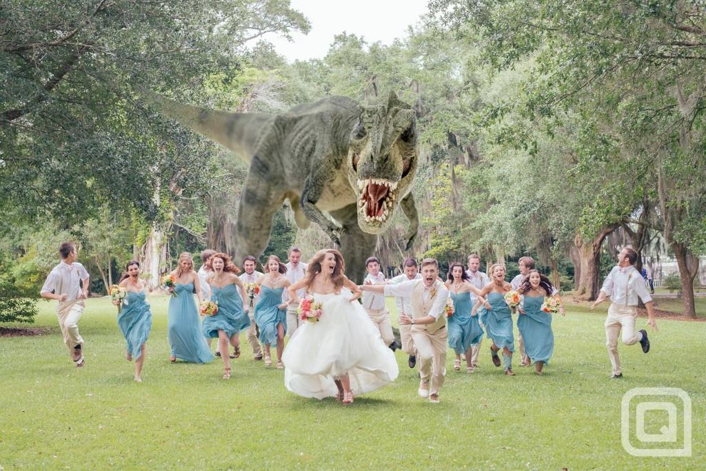 Dinosaur at wedding by Quinn  Miller Photography