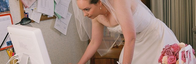 Bride Checking Internet