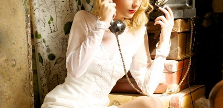 vintage bride on phone